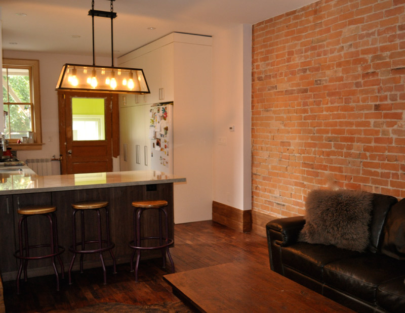 Downtown Exposed - Fully custom Walnut and Painted High Gloss Cabinetry
